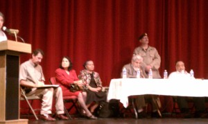 Land Grant Panel at Highlands University, Las Vegas, New Mexico (Huerta in red, Tijerina seated at the left end of table)