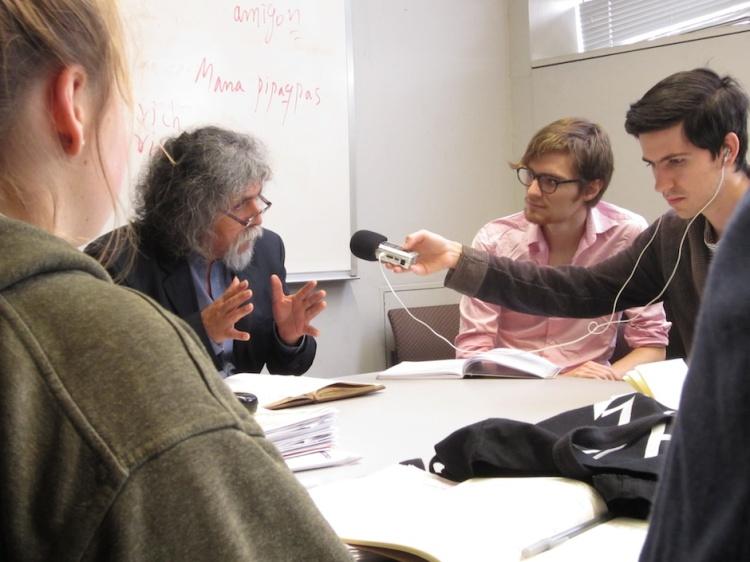 Manuelcha Prado at CLACS Quecha Class
