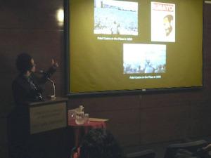Coco Fusco presenting