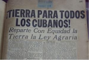 """Newspaper article from May 19, 1959: """"Tierra para todos los cubanos!"""""""