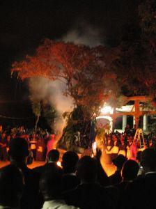 Freemasons celebrate the eve of Saint John's Day with a traditional bonfire. Jacmel, Haiti,  2013. Photo by Katherine Smith