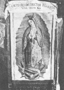 Battle flag of the Catholic Partisans in the Cristero War. Source -http://memorieswithoutborders.org/public_resources/2_gallego_s_news_excerpts_articles__press