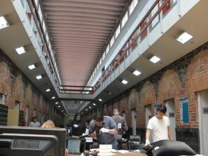 Research gallery in the Archivo General de la Nacion - documents are housed in former jail cells