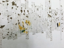 """Detail of the first section of """"Temblores armonicos"""" by artists Manuela Ribadeneira at FLORA ars natura, Bogota, Colombia."""